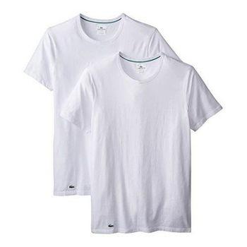 【Lacoste】2015男時尚純棉彈性白色圓領短袖內衣2件組(預購)