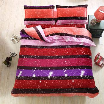 Lapin 銀河星 法蘭絨雙人四件式舖棉床包兩用被組