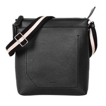 BALLY黑白背帶直立式荔枝紋全皮斜背包(黑)