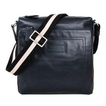 BALLY黑白背帶直立式前拉鍊袋皮斜背包(藍)