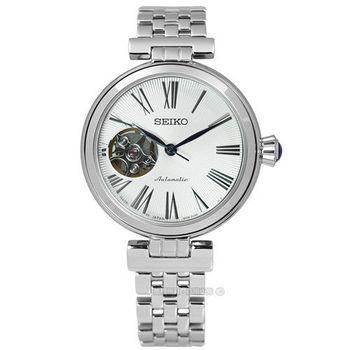 SEIKO精工 / 4R38-00Z0S.SSA863J1 / 精密質感鏤空機械不鏽鋼腕錶 銀色 33mm