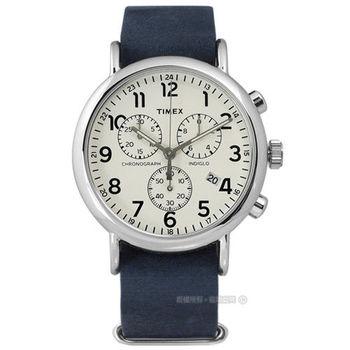 TIMEX 天美時/ TXT2P62100 / INDIGLO 美國復刻回憶三環計時真皮腕錶 米白x深藍 40mm