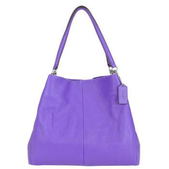 COACH 荔枝皮三層肩背包(紫)
