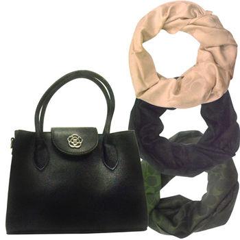 【COACH】經典羊毛真絲圍巾披肩+日本CLATHAS經典山茶花圖騰兩用手提包