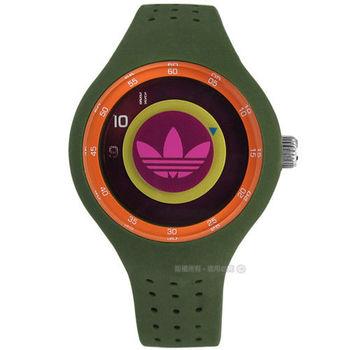 adidas 愛迪達 / ADH3060 / Originals 多層次雙層時標矽膠腕錶 桃紫x綠 41mm