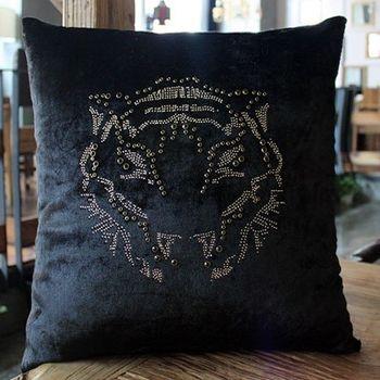【協貿】現代簡約時尚水鑽燙鑽老虎頭方枕沙發靠墊含芯