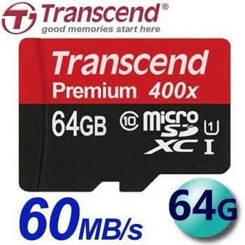Transcend 創見 64GB 60MB/s microSDXC TF U1 C10 記憶卡
