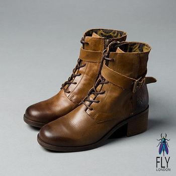 Fly London(女)★英式軍風 真皮環扣綁帶低跟短靴 - 棕駝