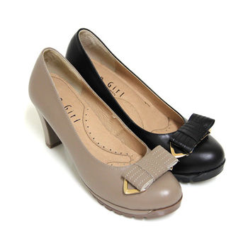 【GREEN PHOENIX】典雅曼妙立體法式蝴蝶結金屬邊條全真皮高跟鞋-卡其色、黑色