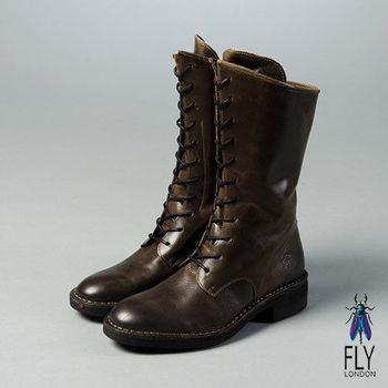 Fly London(女)★英倫男孩風 真皮綁帶斜口中靴 - 深咖啡