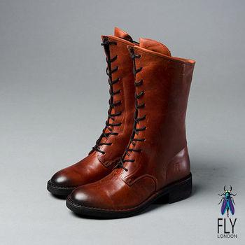 Fly London(女)★英倫男孩風 真皮綁帶斜口中靴 - 磚