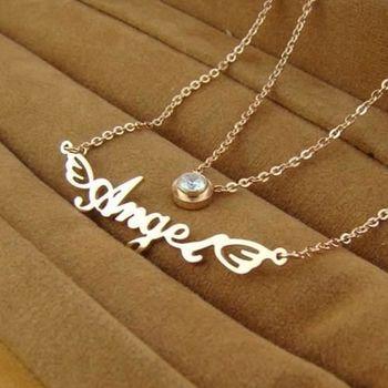 【米蘭精品】玫瑰金鑲鑽純銀項鍊天使英文字母雙層飾品