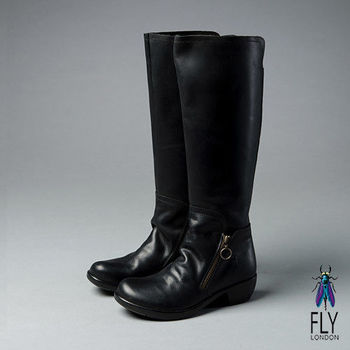 Fly London(女)★及膝時尚  皺褶皮面拉鍊內增高長靴 - 黑