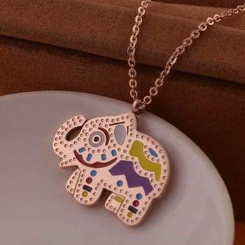 【米蘭精品】玫瑰金純銀項鍊民族風可愛小象飾品