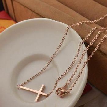 【米蘭精品】玫瑰金純銀項鍊歐美時尚橫十字架飾品