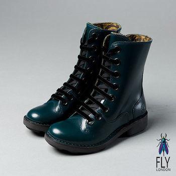 Fly London(女)★英式馬汀 真皮8孔綁帶式中靴 - 軍藍亮