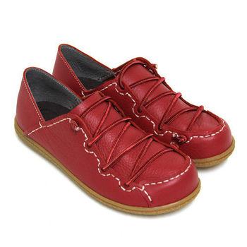 【GREEN PHOENIX】RED ANT內斂自然飽和色彩鬆緊線兩穿手縫全真皮平底懶人鞋-紅色