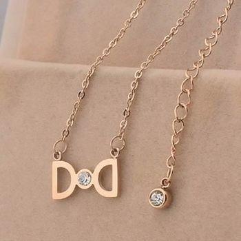 【米蘭精品】玫瑰金鑲鑽純銀項鍊精美蝴蝶結時尚飾品