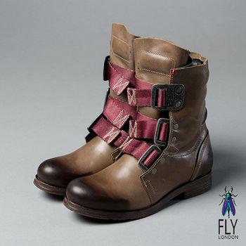 Fly London(女)★BE GOOD! 第一代 個性中筒真皮軍靴 - 沙塵灰