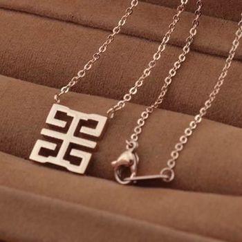 【米蘭精品】玫瑰金純銀項鍊時尚囍字流行飾品