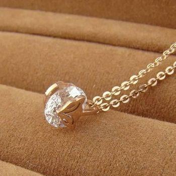 【米蘭精品】玫瑰金鑲鑽純銀項鍊精美時尚狐狸飾品