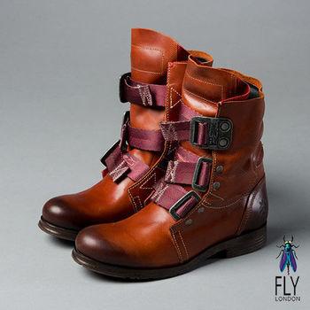 Fly London(女)★BE GOOD! 第一代 個性中筒真皮軍靴- 土窯磚