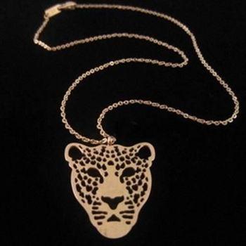 【米蘭精品】玫瑰金純銀項鍊個性豹子頭流行飾品