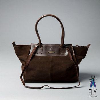 Fly London - 微笑囧囧 牛皮梯字手提肩背二用包 - 反毛咖