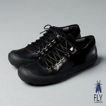 Fly London(男)★都市旅人 雙拼真皮舒適休閒鞋 - 個性黑