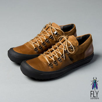 Fly London(男)★都市旅人 雙拼真皮舒適休閒鞋 - 個性棕
