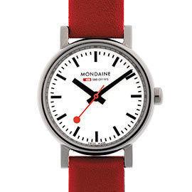 MONDAINE 瑞士國鐵經典腕錶/26mm-紅/黑錶帶 (65811S)