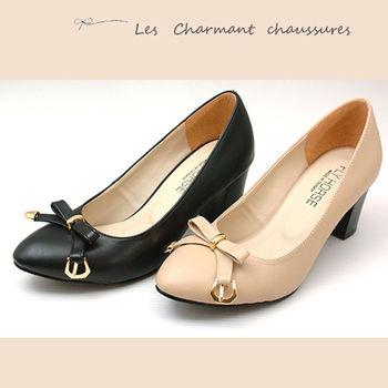 【 cher美鞋】細緻蝴蝶粗跟鞋 (黑 米2色)  173-192