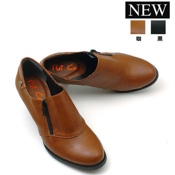 【 cher美鞋】簡約風格粗跟踝靴 (黑 棕2色) 1031-73