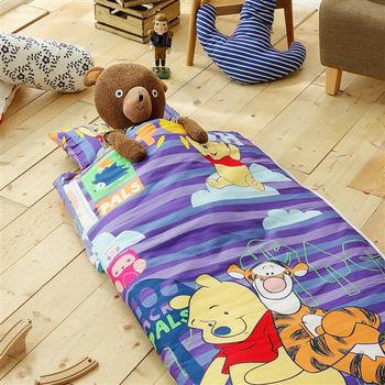 HO KANG 迪士尼授權 100%純棉 冬夏鋪棉兩用兒童睡袋 加大款-維尼朋友