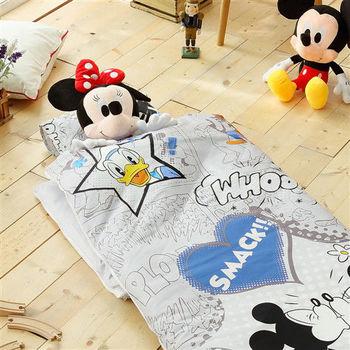 HO KANG 迪士尼授權 100%純棉 冬夏鋪棉兩用兒童睡袋 加大款-親親米奇