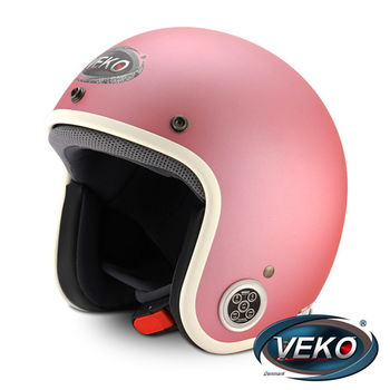 VEKO藍芽4.0立體聲復古安全帽BTS-C1消光粉紅