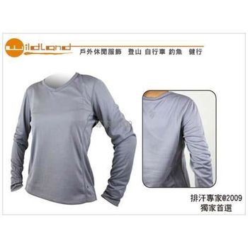 【WILDLAND】女V領舒適布料長袖T恤 灰