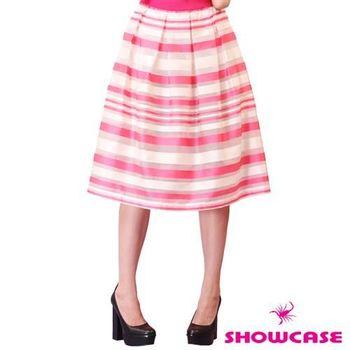 SHOWCASE 光澤感網紗橫條紋膝下長裙 -粉-146537D