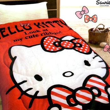 【HELLO KITTY】凱蒂貓法蘭絨暖暖被5x6.5呎-我的小可愛(紅)(B0618-AR)