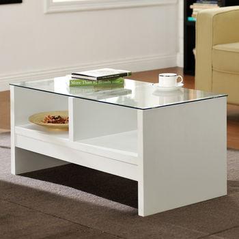 咱的厝 經典安全玻璃小茶几桌(白色)
