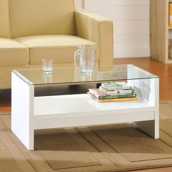 咱的厝 簡約安全玻璃小茶几桌(白色)