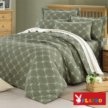 PLAYBOY 懷舊風格 雙人六件式兩用被床罩組