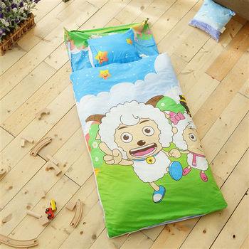 HO KANG 幼教兒童睡袋 冬夏鋪棉兩用-SY郊遊藍
