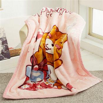 HO KANG 新合纖單人被頭柔軟毛毯-禮物熊