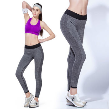 【LOTUS】慢跑瑜珈高彈力九分快乾運動褲(灰色)