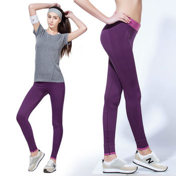 【LOTUS】慢跑瑜珈高彈力九分快乾運動褲(紫色)