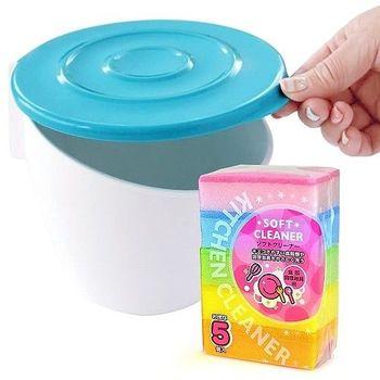 【買就送】日本製造HACHIMAN流理台抗菌吸盤收納筒(送5入海綿刷)