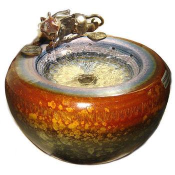 【開元琉璃】特大(招財貔貅)聚寶盆流水盆 風水輪 時來運轉流水盆