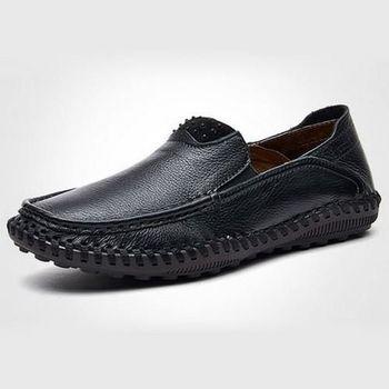 【HaoxinG】款D242541黑色春夏新款舒適休閒男鞋套腳真皮商務休閒男士手工皮鞋(JHS杰恆社)