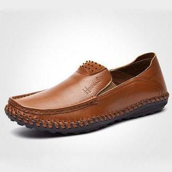 【HaoxinG】款D242541棕色春夏新款舒適休閒男鞋套腳真皮商務休閒男士手工皮鞋(JHS杰恆社)